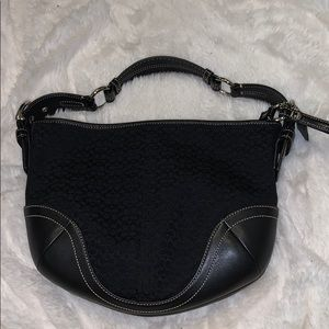 Coach Signture Jacquard and Black Leather Hobo